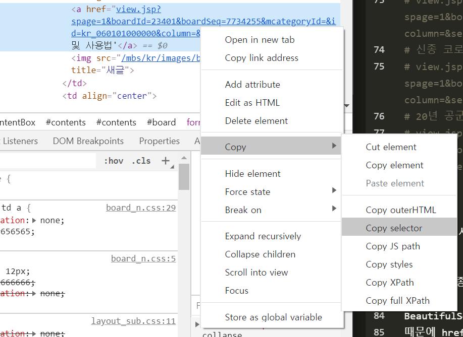 CSS selector 확인